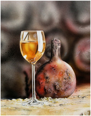 Weinglas mit Flasche.Weinkeller