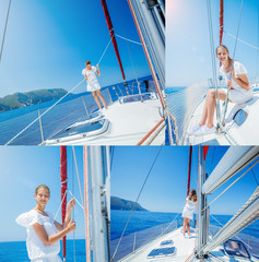 Collage of Girl Sailing On Yacht in Greece