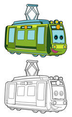 Cartoon funny looking electric train - isolated - illustration for children