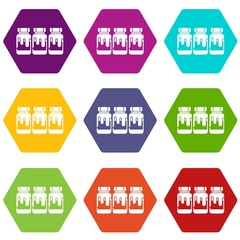 Three plastic jars with gouache icon set color hexahedron