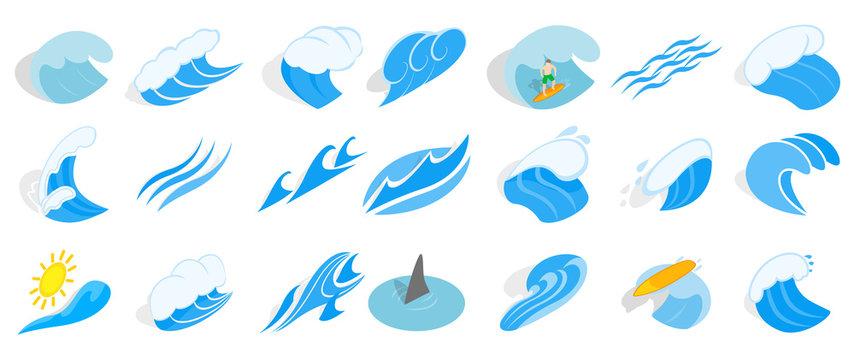 Ocean wave icon set, isometric style