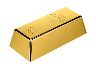 gold bar isolated on white background.