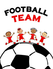 poster kids child boys on the soccerball. Flat vector illustration with text football lettering