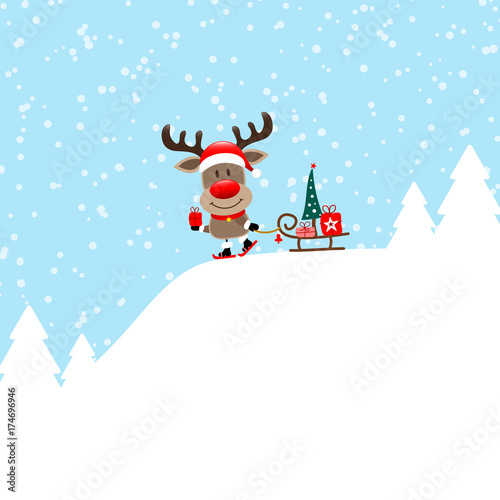 rudolph skiing gift pulling sleigh tree blue stock image and