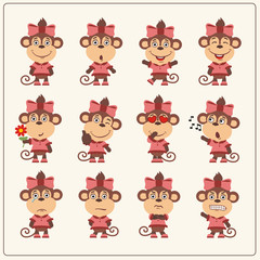 Set of charming little monkey girl in various poses. Collection emoticons of isolated girls monkey in cartoon style.
