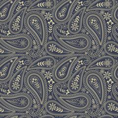 Paisley seamless pattern. Indian cucumber. Oriental decorative ornament.