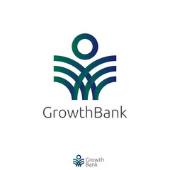 elegant twisted shape Logo. abstract person or people sign logo icon vector with Green Blue color design concept. Logo Template for bank, finance, organization, product, or any services.
