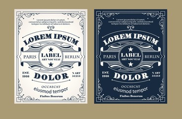 Vintage label design set with an example of your text