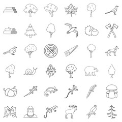 Travel icons set, outline style