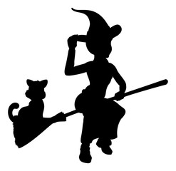 Witch and Cat Flying On Broomstick Silhouette