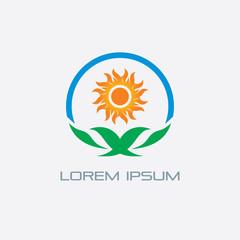 leaf eco sun landscape logo