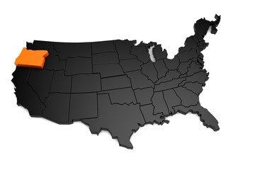 United States of America, 3d black map, with Oregon state highlighted in orange. 3d render