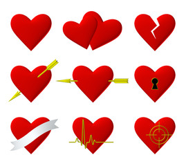 Hearts symbols 3d illustration set