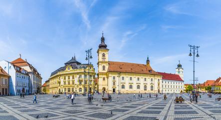 Wall Mural - Historical center of Sibiu town, Transylvania region, Romania.