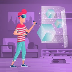 character in a room with virtual reality goggles