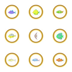 Ocean fish icons set, cartoon style