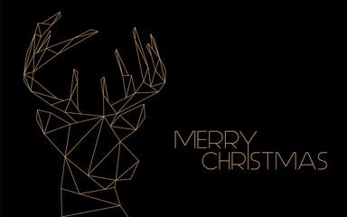 Merry Christmas - golden modern reindeer