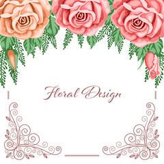 Background with flowers and lace frame for wedding invitation, save the date or bridal shower card. Vector Illustration in retro style