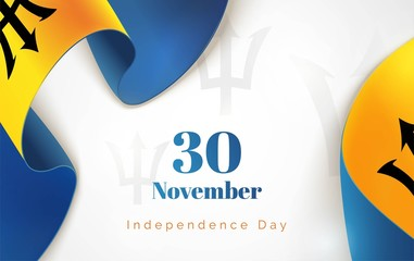 30 november.Barbados Independence Day background in national flag color theme. Celebration banner  with curving ribbons and text. Vector illustration