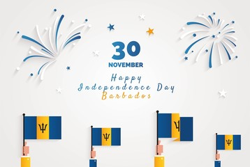 30 november.Barbados Independence Day greeting card. Celebration background with fireworks, flags and text. Vector illustration
