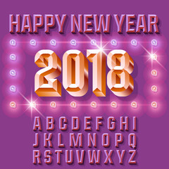 Vector light up vintage Happy New Year 2018 greeting card with Letters