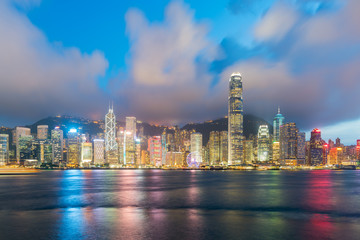 Night view of Victoria Harbour in Hong Kong. Asia.