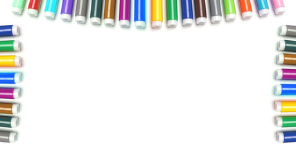 Varicoloured markers on the white isolated background.