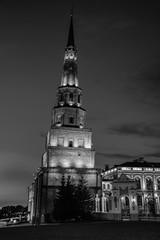 Illuminated Soyembika Tower in Kazan Kremlin. Black and white