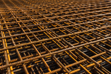 Stacked reinforced steel foundation bars on construction site