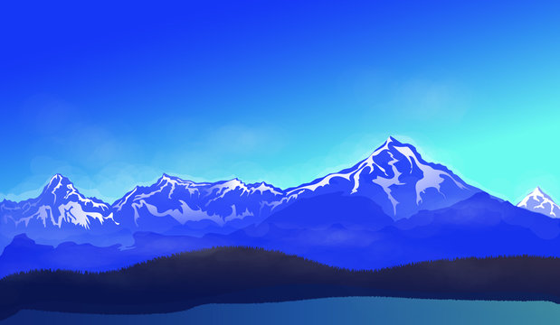 The beautiful mountain scenery. Lake in the snowy mountains. Sunny weather and clear blue sky.  Vector illustration