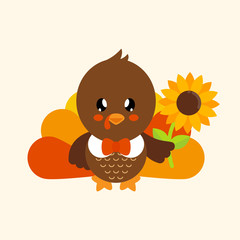 cute turkey with sunflower and tie