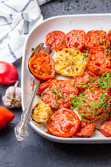 Garlic herb roasted tomatoes. Top view.