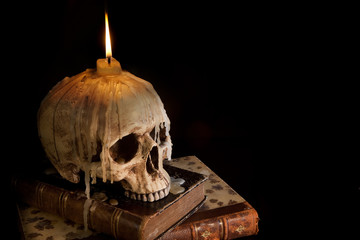 Candle on skull 4
