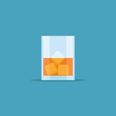 Glass of whiskey with ice isolated on blue background. Flat style icon. Vector illustration.