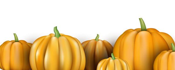 White banner with orange 3d pumpkins.