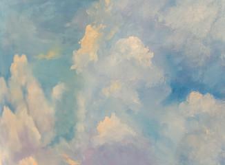 a picture paints a cloudy sky.