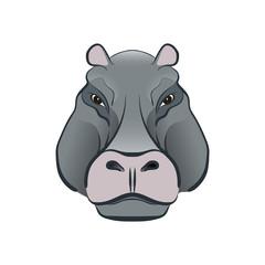 Hippopotamus in cartoon style