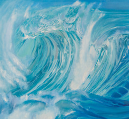 blue sea with the crest of a wave painting with oil paints.