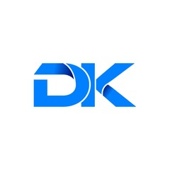 dk logo initial logo vector modern blue fold style