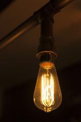 detail of illuminated light bulb