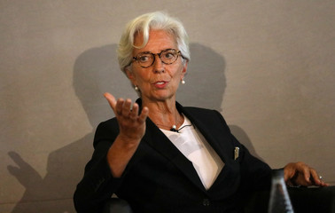 Managing Director of the International Monetary Fund, Christine Lagarde, speaks at the Bank of England conference 'Independence 20 Years On' at the Fishmonger's Hall in London