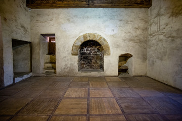 fireplace in the old castle