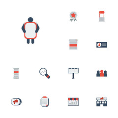 Flat Icons Application, Building, Market And Other Vector Elements. Set Of Marketing Flat Icons Symbols Also Includes Brief, Client, Man Objects.