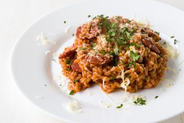 Chorizo risotto with tomato
