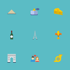 Flat Icons Archway, Tower, Trombone And Other Vector Elements. Set Of Europe Flat Icons Symbols Also Includes French, Eiffel, Pyramid Objects.