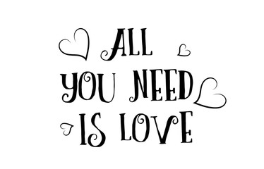 all you need is love quote logo greeting card poster design