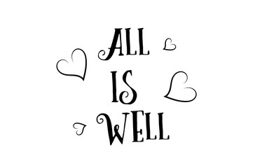 all is well love quote logo greeting card poster design