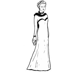 Female model in long dress, tiara and boa. Black contour silhouette. Queen, princess, woman for coloring book pages, advertising, banners, shop, design, covers. Cartoon character. Black, white colors.