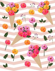 Flowers picotee pattern Vector background