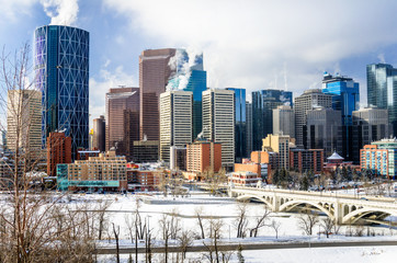 View of Calgary Skyline on a Freezing Winter Morning